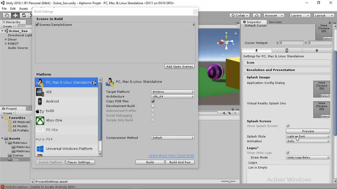 MEILLEUR TUTO GRATUIT Unity 3D : L'essentiel Export du projet sur